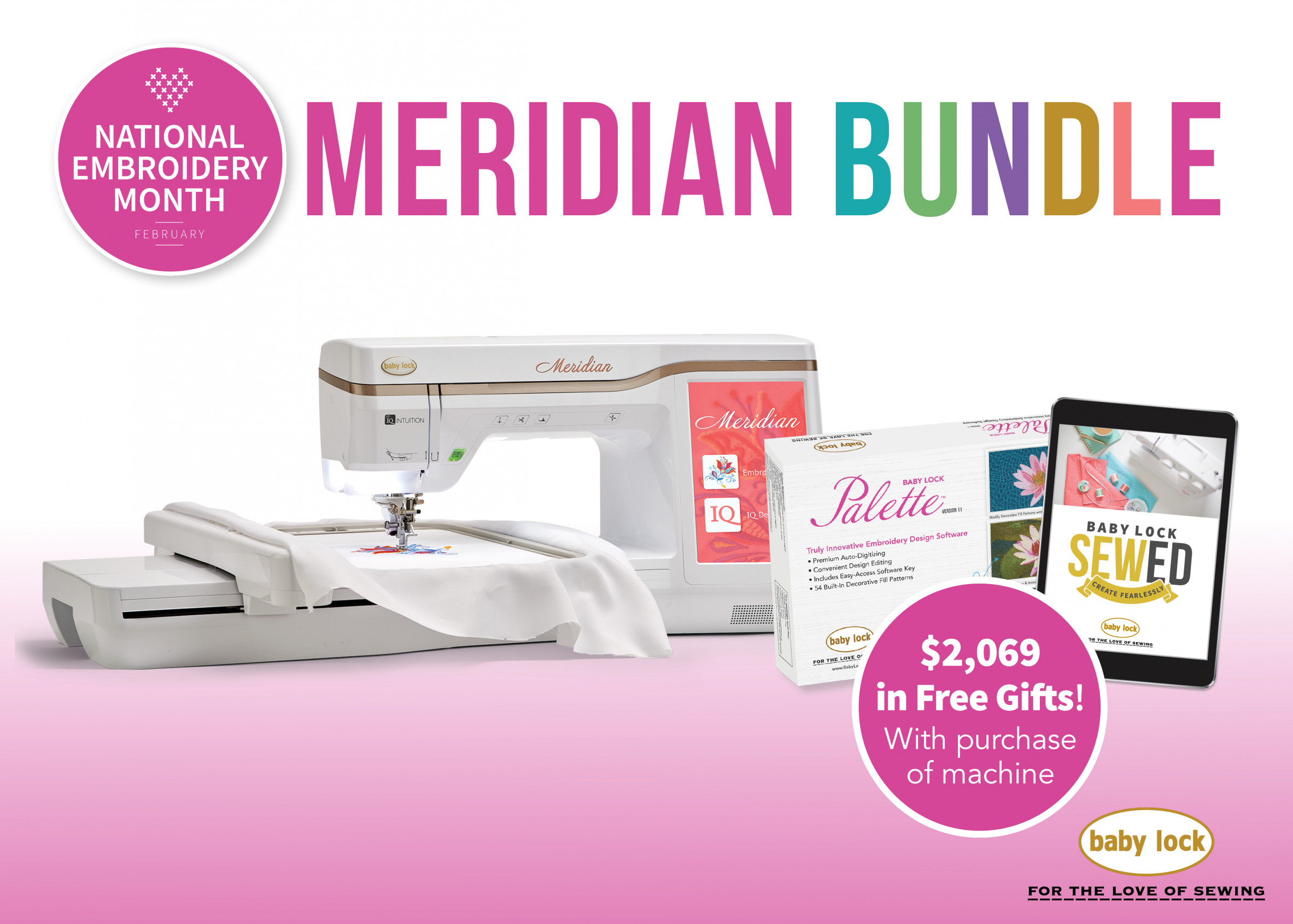 Baby Lock Meridian embroidery machine special offer