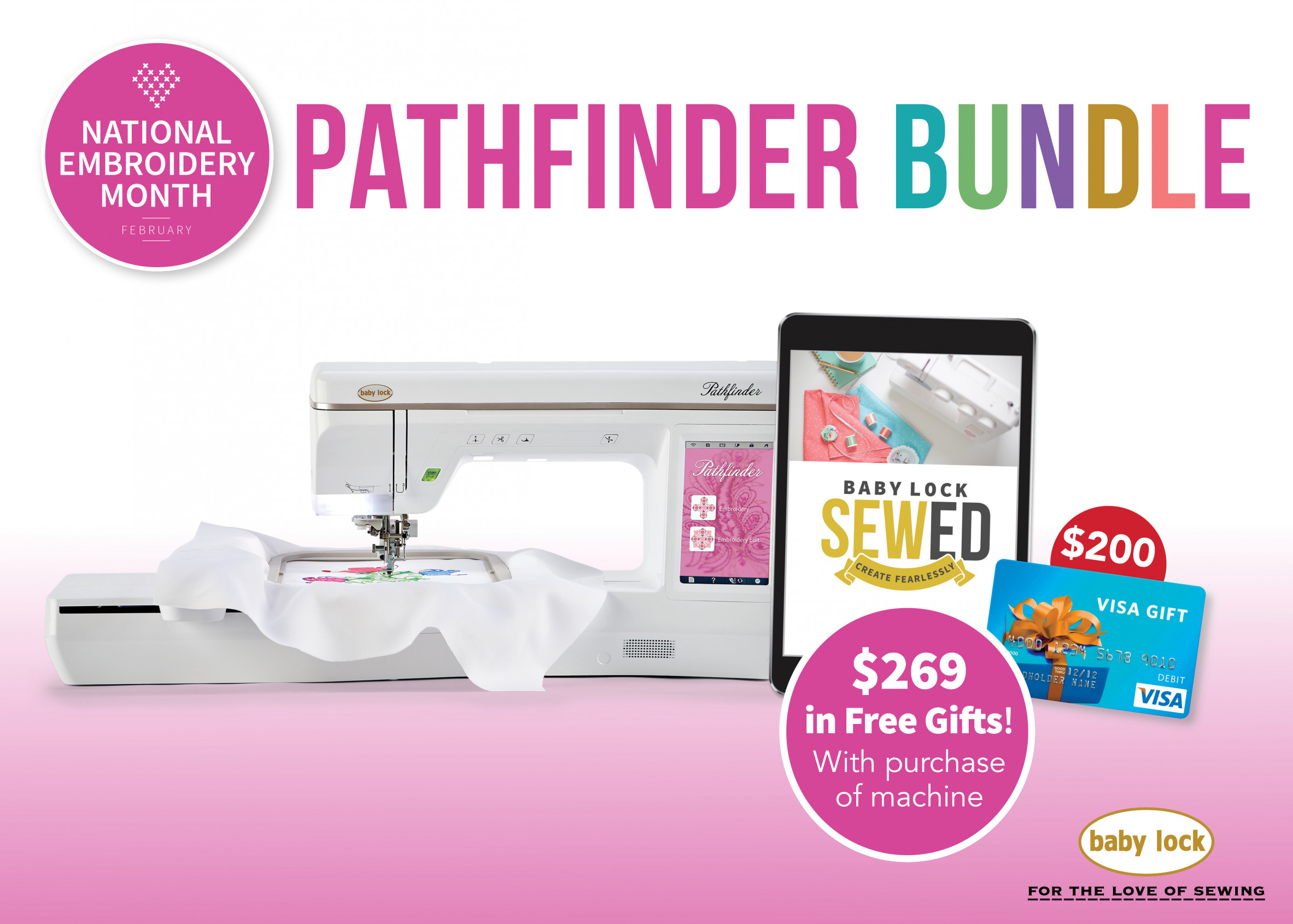 Baby Lock Pathfinder embroidery machine special offer
