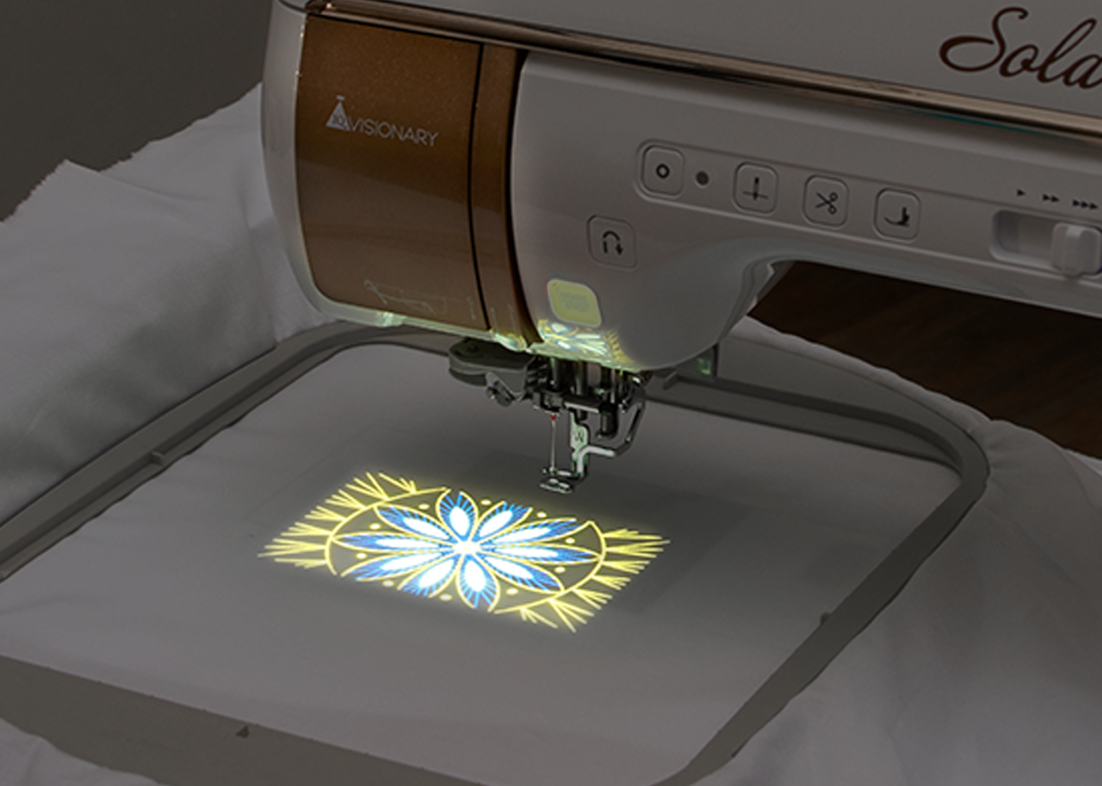 Use the Baby Lock Solaris 2 Sewing and Embroidery Machine's built-in projector camera for perfect embroidery placement.