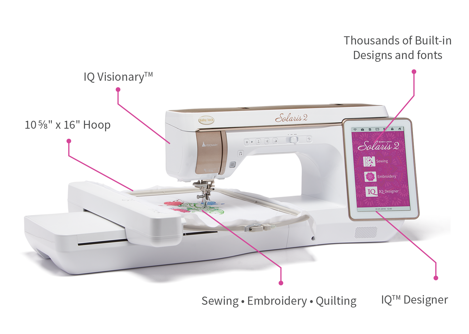 Baby Lock Solaris 2 Sewing and Embroidery Machine is the most innovative machine yet.