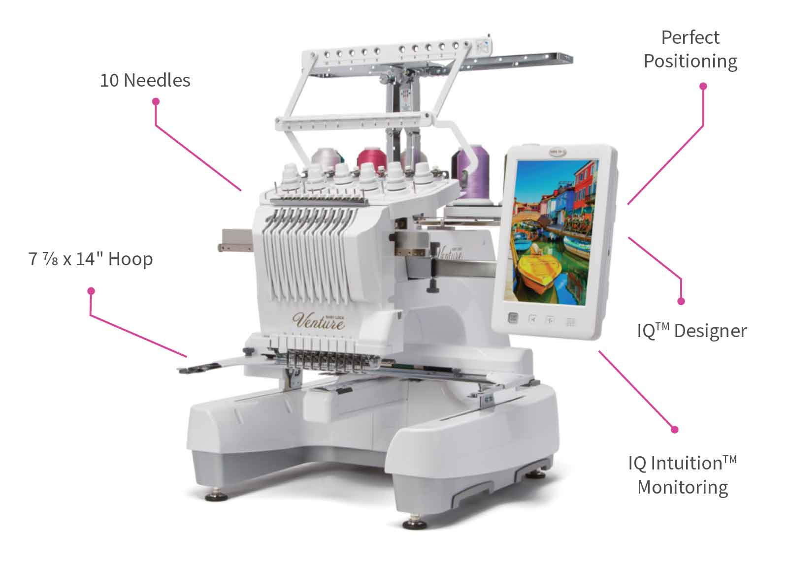 Learn about the features of the Baby Lock Venture Multi-Needle Embroidery Machine