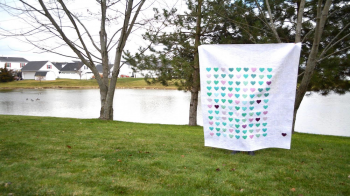 Heart grid quilt LS