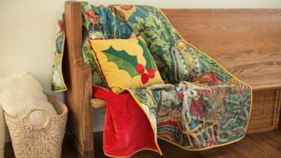 Vintage Holiday Quilt and Pillow .jpg