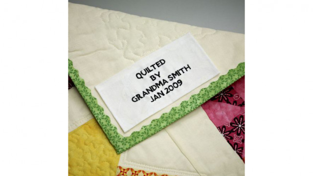 graphic about Printable Quilt Labels named Embroidered Quilt Labels - Kid Lock